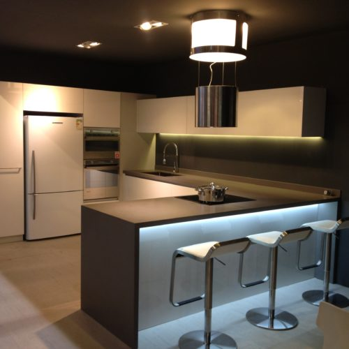 contemporary kitchen with island and stools