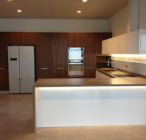 contemporary kitchen with island white cabinets