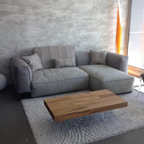 grey sofa and wooden table