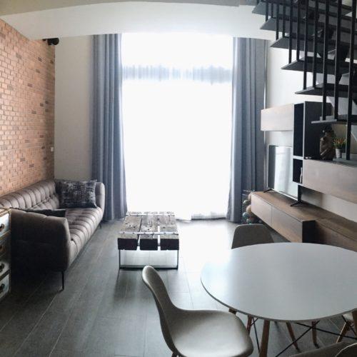 contemporary loft living room