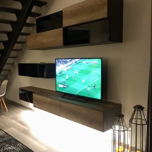 bespoke living room cabinets with lights